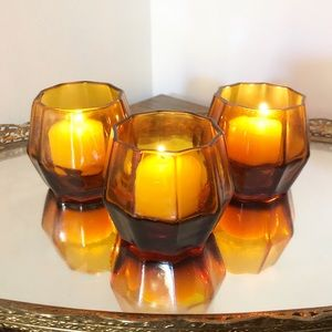 Amber Fall Votive Glass Candle Holder Set Decor